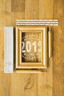 Makieta ramka z dekoracją nowego roku