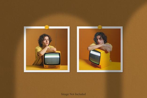 Makieta ramki do zdjęć polaroid z nakładką cienia