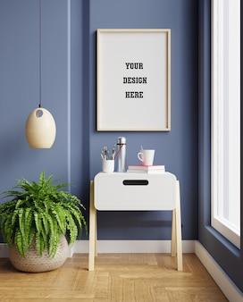 Makieta ramki na ciemnoniebieskim wnętrzu salonu