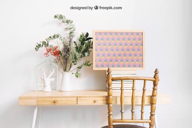 Makieta ramki na dekoracyjne biurko