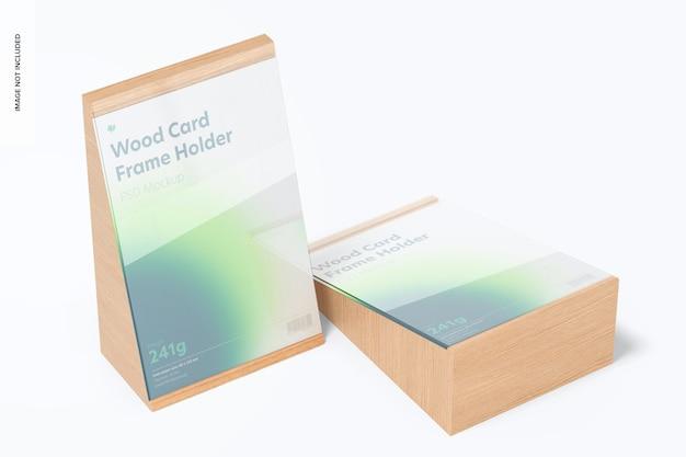 Makieta ramki na karty drewniane, perspektywa