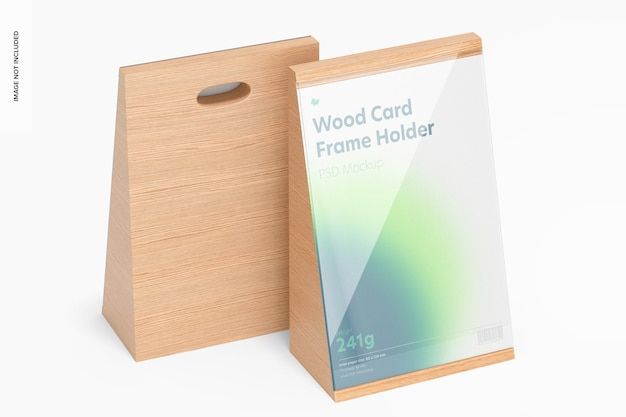 Makieta ramki na karty drewniane, widok z prawej strony