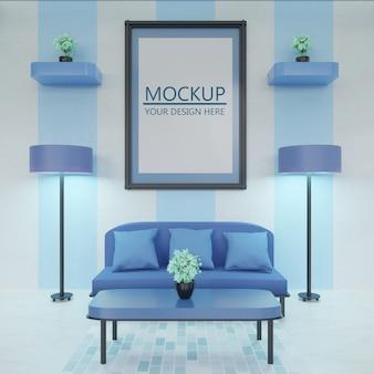 Makieta ramki na nowoczesnym i minimalistycznym niebieskim salonie