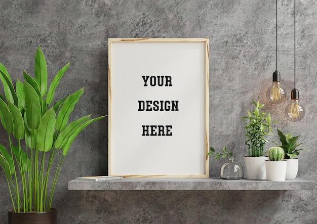 Makieta ramki na szafce w salonie na pustej ścianie betonowej, renderowanie 3d