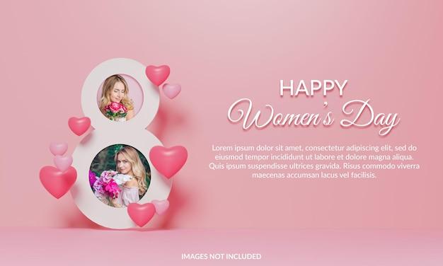Makieta ramki na zdjęcia happy women's day render 3d