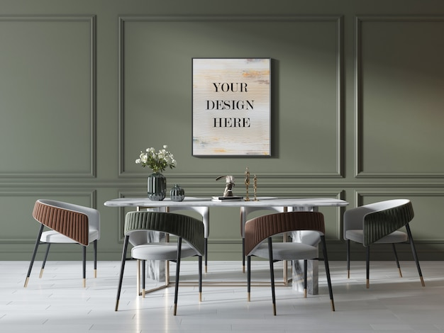 Makieta ramki na zdjęcia na zielonej ścianie w luksusowym wnętrzu z marmurowym stołem i krzesłami
