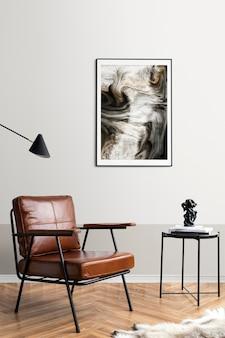 Makieta ramki na zdjęcia psd przy stoliku do czytania w salonie