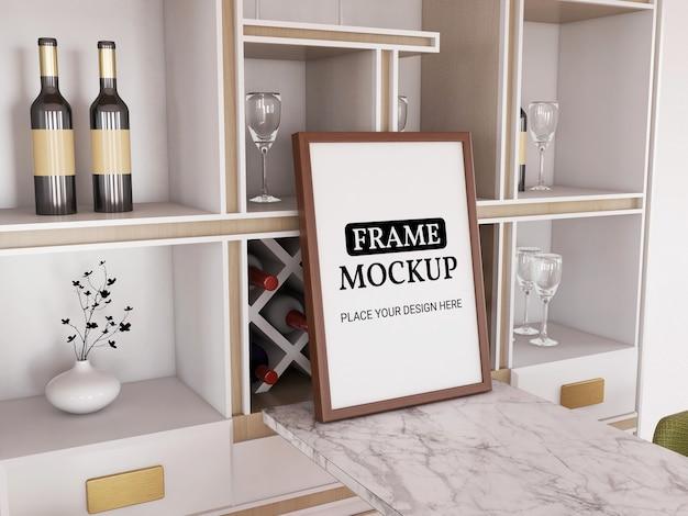 Makieta ramki na zdjęcia realistyczna w kuchni