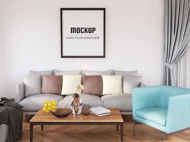 Makieta ramki na zdjęcia realistyczna w salonie