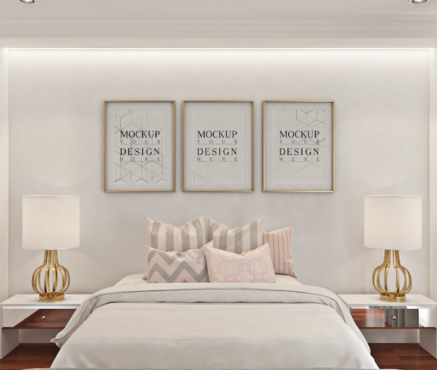 Makieta ramki na zdjęcia w białej nowoczesnej sypialni