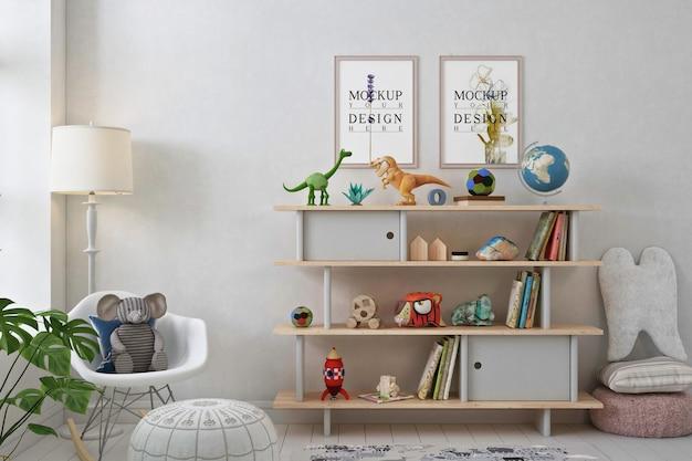 Makieta ramki na zdjęcia w białym nowoczesnym pokoju zabaw