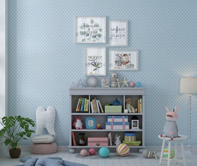 Makieta ramki na zdjęcia w niebieskim pastelowym pokoju zabaw