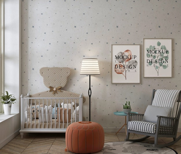 Makieta ramki na zdjęcia w nowoczesnej klasycznej sypialni dziecka z bujanym fotelem