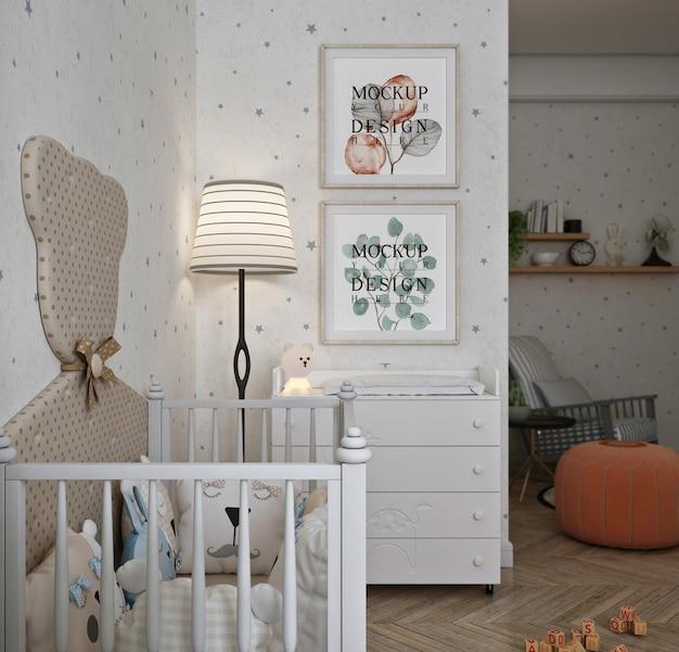 Makieta ramki na zdjęcia w nowoczesnej klasycznej sypialni dziecka