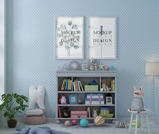 Makieta ramki na zdjęcia w prostym pokoju zabaw