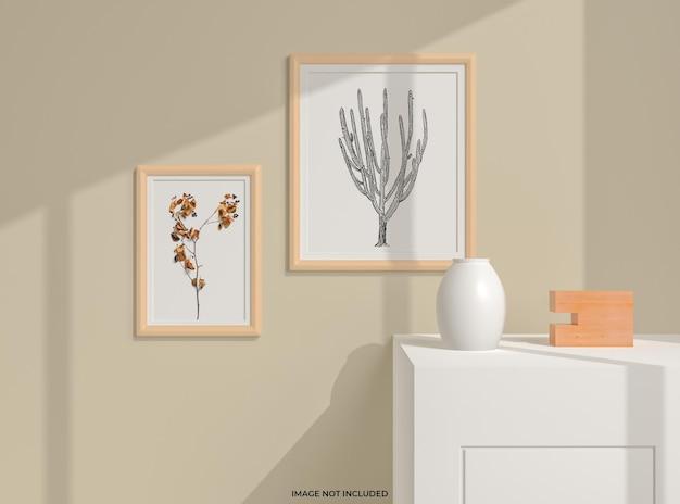 Makieta ramki na zdjęcia we wnętrzu salonu