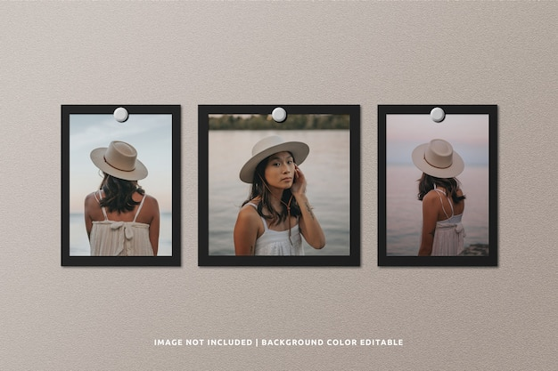 Makieta ramki na zdjęcia z czarnego papieru kwadratowego i pionowego