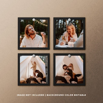 Makieta ramki na zdjęcia z czarnego papieru kwadratowego