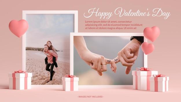 Makieta ramki na zdjęcia z sercami, miłością i prezentami na walentynki w renderowaniu 3d