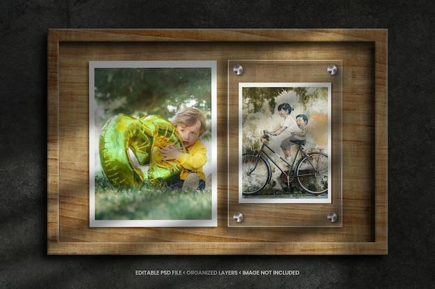 Makieta ramki na zdjęcia ze szkła i papieru na drewnianym tle tekstury