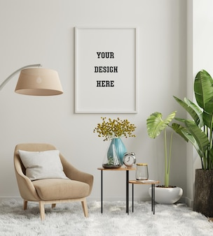 Makieta ramki plakatowej na pustej ścianie we wnętrzu salonu z aksamitnym fotelem. renderowanie 3d
