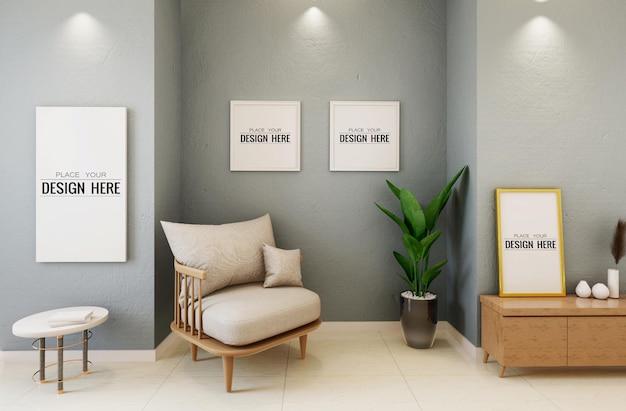 Makieta ramki plakatowej na ścianie z rośliną