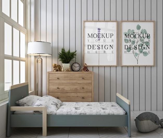 Makieta ramki plakatowej w białej nowoczesnej sypialni dla dzieci