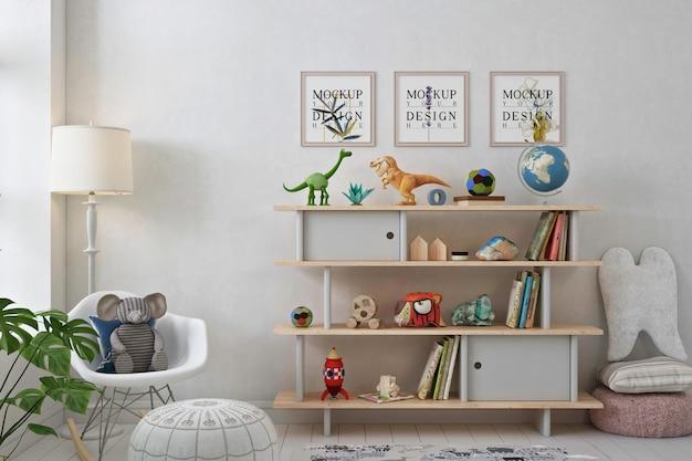 Makieta ramki plakatowej w białym pokoju zabaw