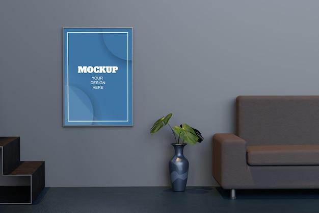 Makieta ramki plakatowej w nowoczesnym wnętrzu salonu