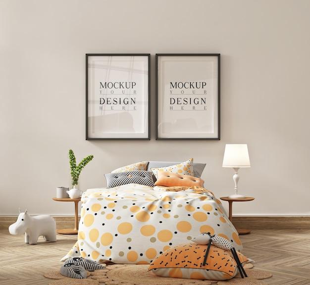 Makieta ramki plakatowej w prostej sypialni dziecka