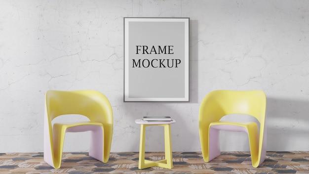 Makieta ramki plakatowej w scenie z żółtymi meblami
