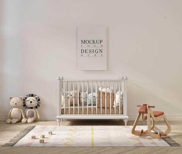 Makieta ramki plakatowej w uroczym pokoju dziecięcym