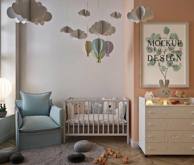 Makieta ramki plakatowej w uroczym wnętrzu pokoju dziecięcego z sofą