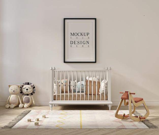 Makieta ramki plakatowej w uroczym wnętrzu pokoju dziecięcego