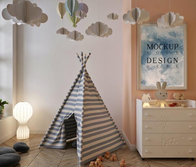 Makieta ramki plakatowej w uroczym wnętrzu pokoju zabaw dla dzieci