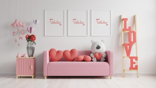 Makieta ramki plakatowej walentynkowy pokój nowoczesne wnętrze ma sofę i wystrój domu na walentynki, renderowanie 3d