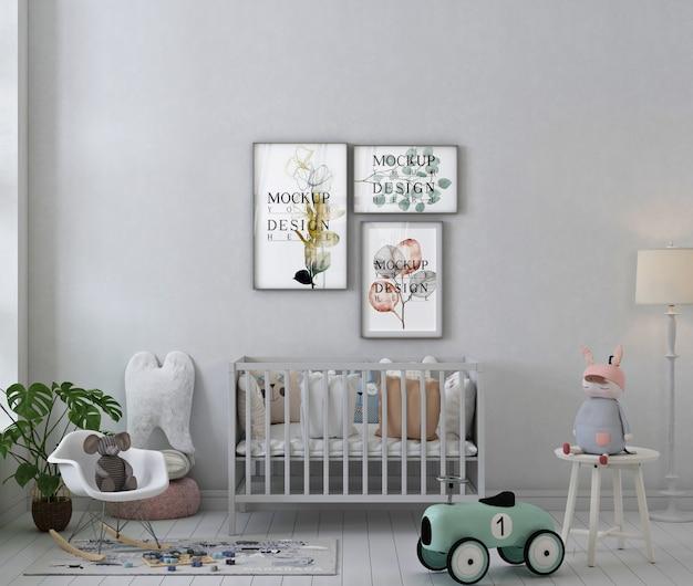 Makieta ramki plakatowej we wnętrzu białego pokoju dziecięcego