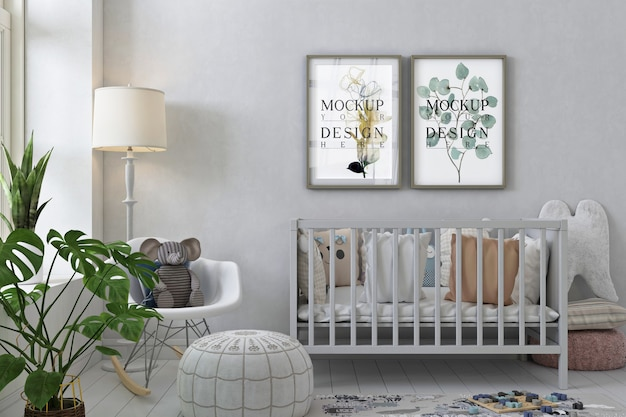 Makieta ramki plakatowej we wnętrzu pokoju dziecinnego