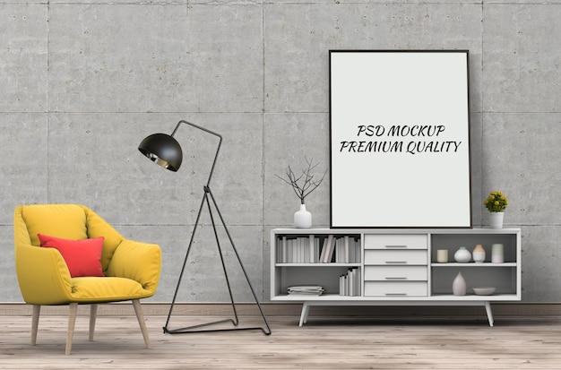 Makieta ramki plakatowej we wnętrzu salonu i fotela