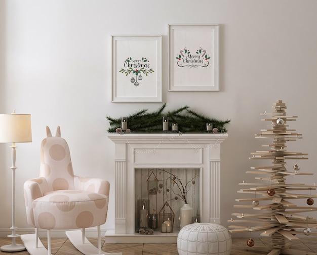 Makieta ramki plakatowej z drewnianą choinką, dekoracją i prezentami