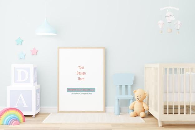 Makieta ramki plakatu w makiecie pokoju dziecięcego w renderowaniu 3d