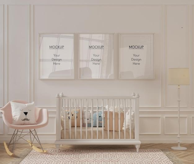 Makieta ramki w nowoczesnym pokoju dziecięcym