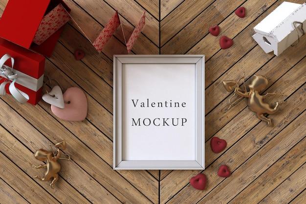 Makieta ramki z koncepcją valentine
