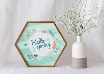Makieta ramki z wiosennych kwiatów