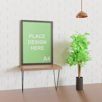 Makieta ramy na ścianie, widok z boku z rośliną