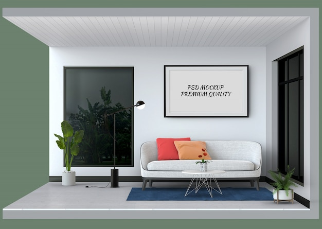 Makieta ramy pokazuje wnętrze nowoczesnego salonu