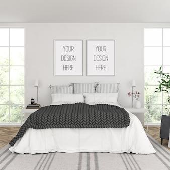 Makieta ramy, sypialnia z podwójnymi białymi ramkami, skandynawskie wnętrze