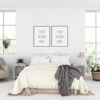 Makieta ramy, sypialnia z podwójnymi czarnymi ramkami, rustykalne wnętrze