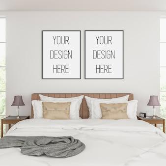 Makieta ramy, sypialnia z podwójnymi czarnymi ramkami, skandynawskie wnętrze