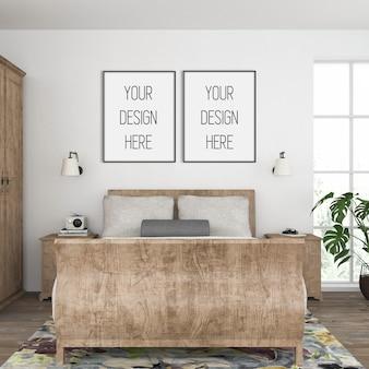 Makieta ramy, sypialnia z podwójnymi czarnymi ramkami, wnętrze w stylu vintage